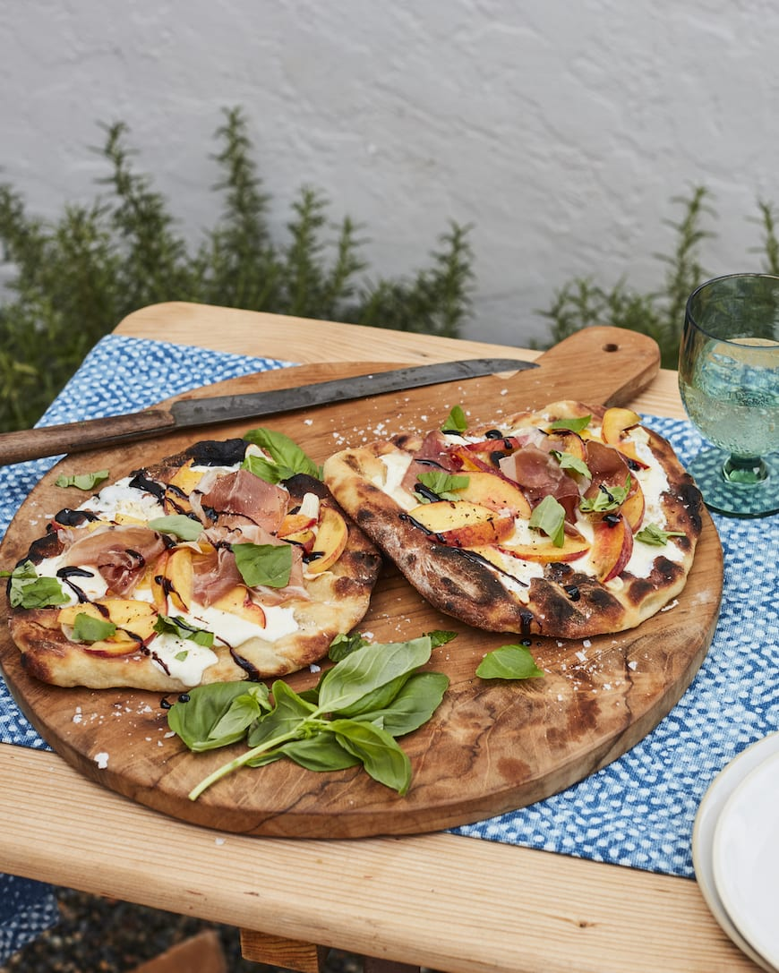 Grilled Peach and Prosciutto Pizza from www.whatsgabycooking.com (@whatsgabycookin)