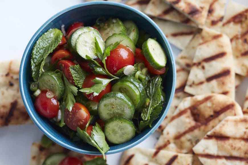 Cucumber Tomato Salad with Garlic and Herb Grilled Naan from www.whatsgabycooking.com (@whatsgabycookin)