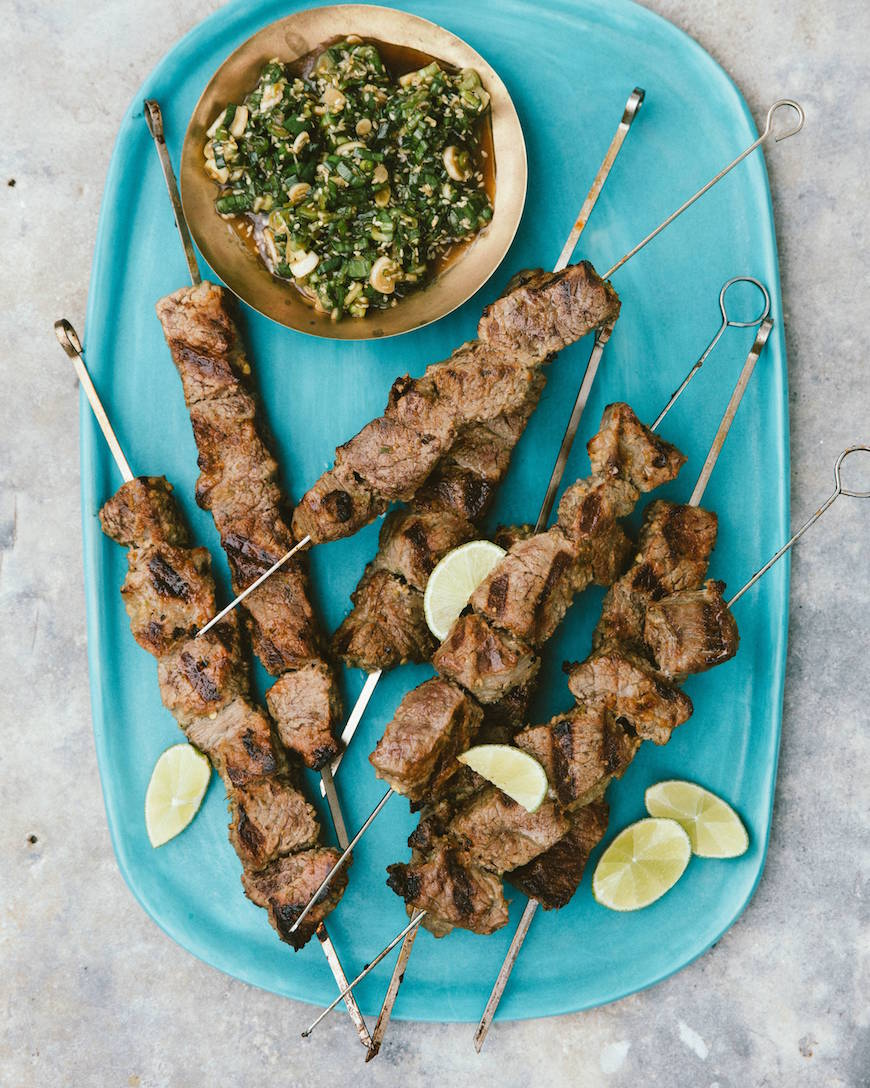 Grilled Steak Skewers with Scallion Sauce - What's Gaby ...
