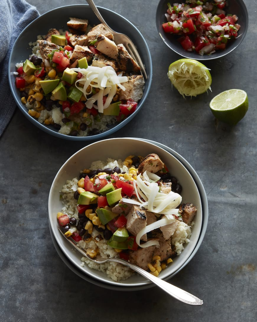 Cauliflower Rice Chicken Burrito Bowls from www.whatsgabycooking.com (@whatsgabycookin)