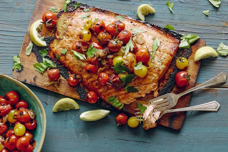 Cedar Plank Salmon with Blistered Tomatoes