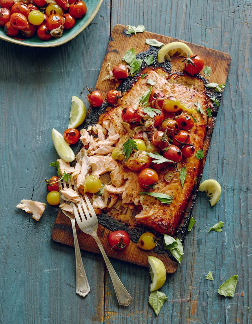 Cedar Plank Salmon With Blistered Tomatoes What S Gaby