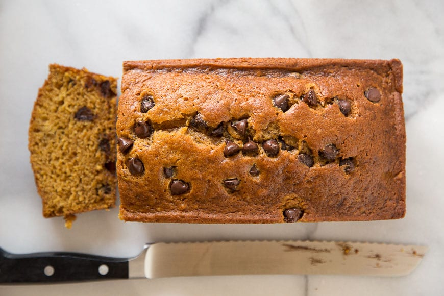 Chocolate Chip Pumpkin Bread! A quick and easy quick bread that will be the best thing you make with pumpkin all season!