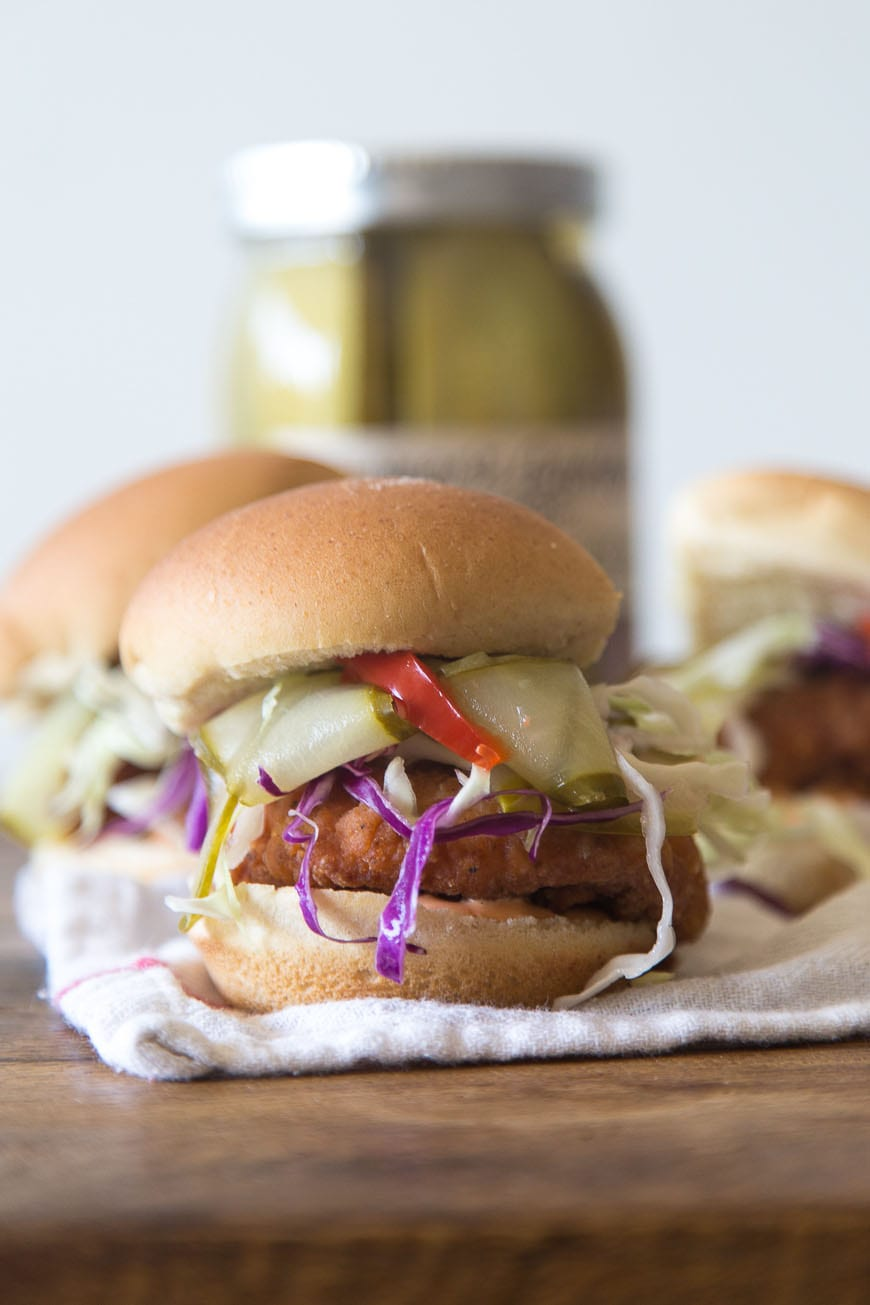 Fried Chicken Sliders with Pickles and Slaw