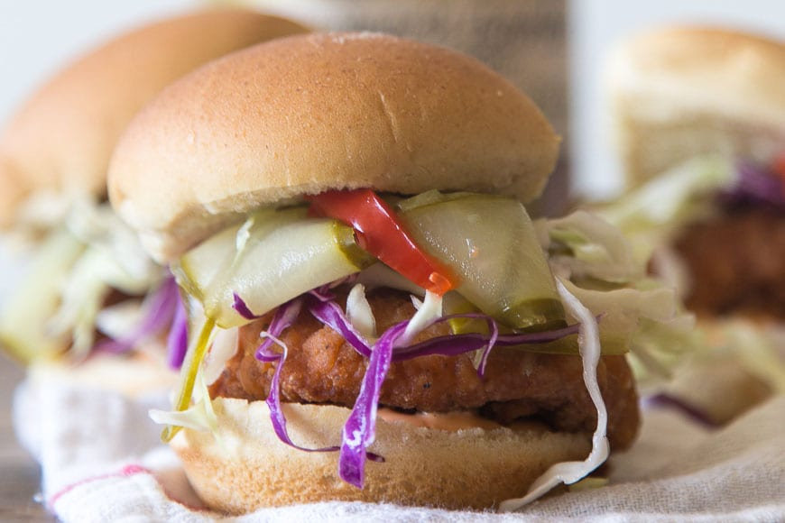 Fried Chicken Sliders with Pickles + Slaw