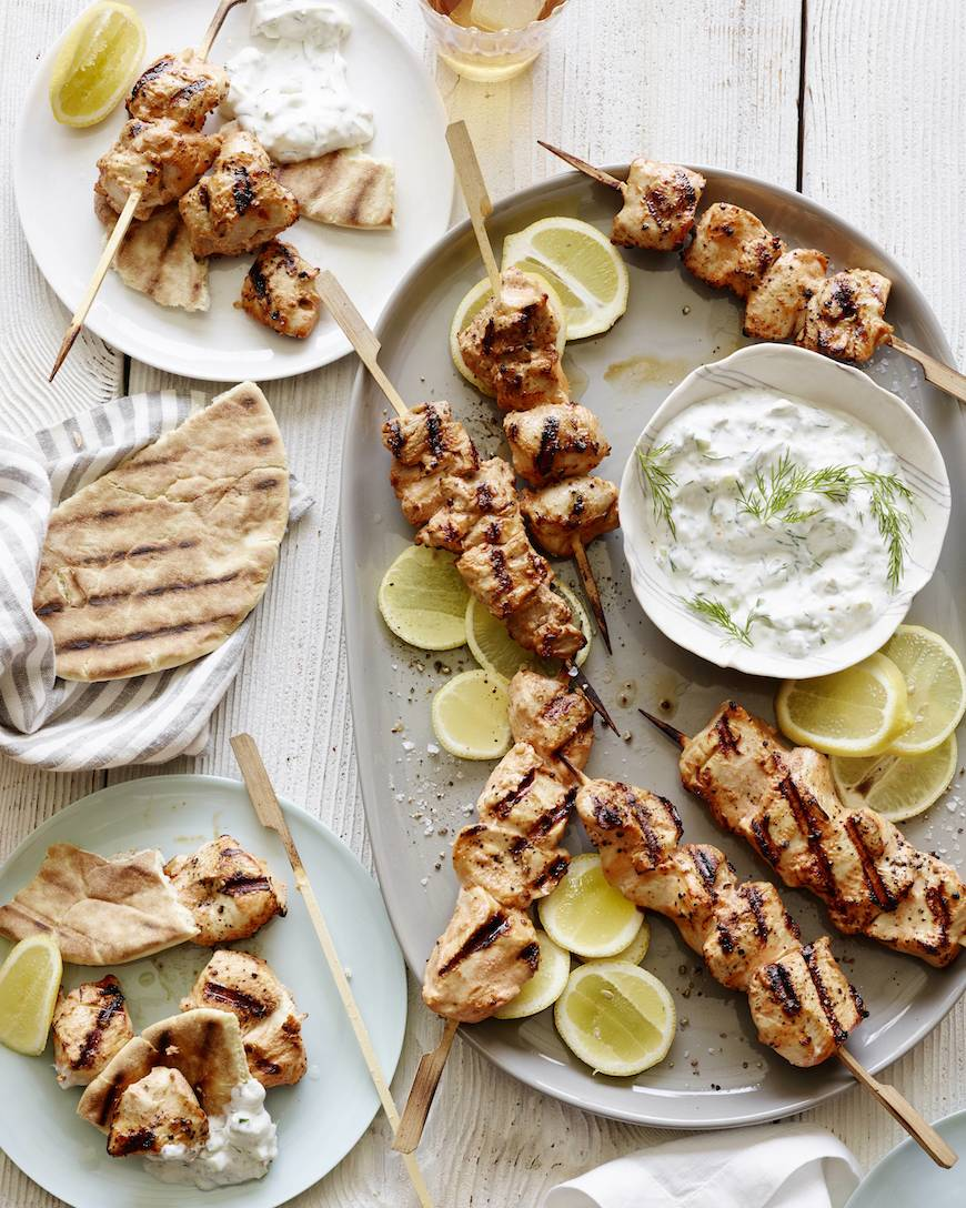 Yogurt Marinated Grilled Chicken Skewers from www.whatsgabycooking.com (@whatsgabycookin)