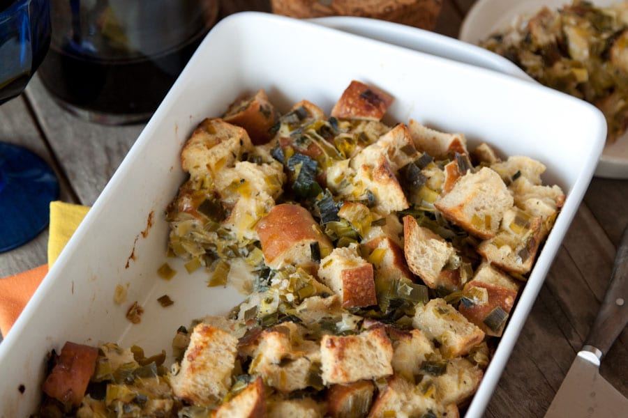Parmesan and Leek Sourdough Stuffing