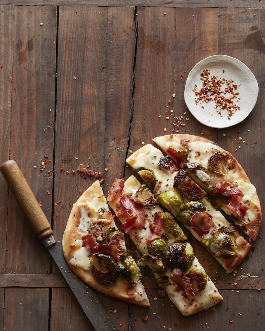 Bacon and Brussels Sprouts Flatbread from www.whatsgabycooking.com (@whatsgabycookin)
