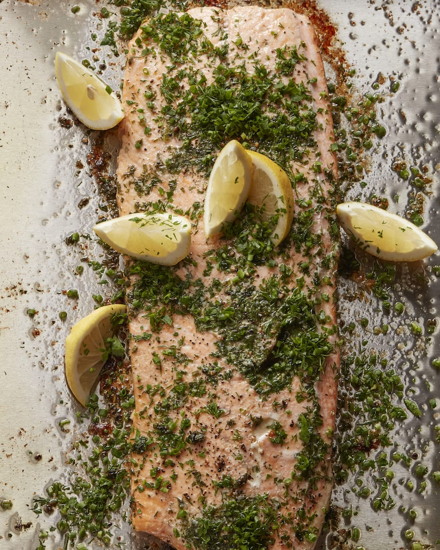 Herb Crusted Salmon // Part of the Valentine's Day Menu from www.whatsgabycooking.com (@whatsgabycookin)