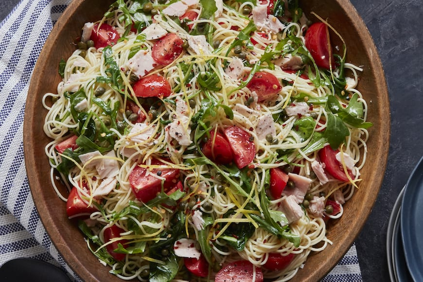 Spicy Chili Tuna Pasta with Arugula
