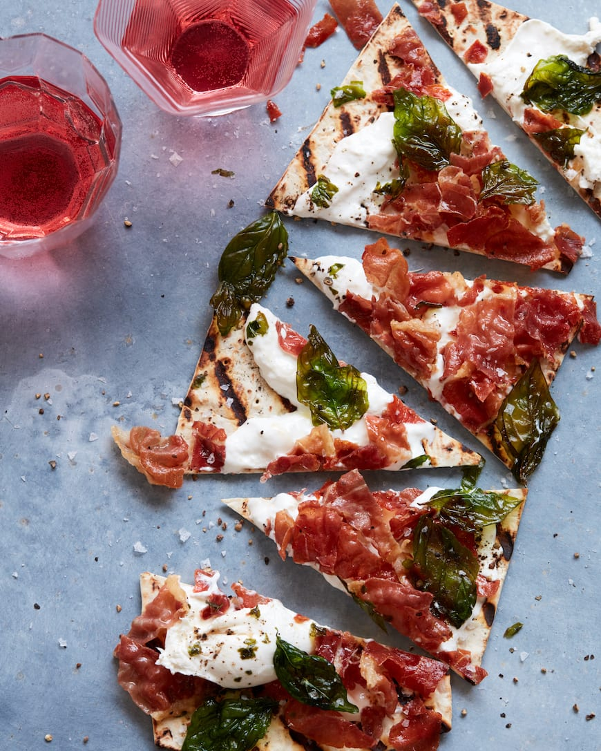 Grilled Burrata Pizza with Crispy Prosciutto and Fried Basil from www.whatsgabycooking.com (@Whatsgabycookin)