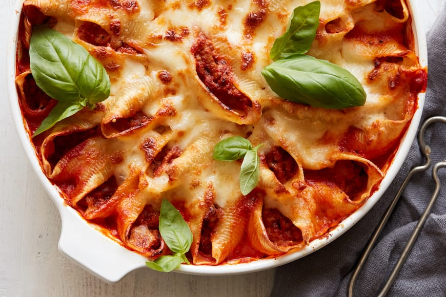 Turkey Bolognese Stuffed Shells