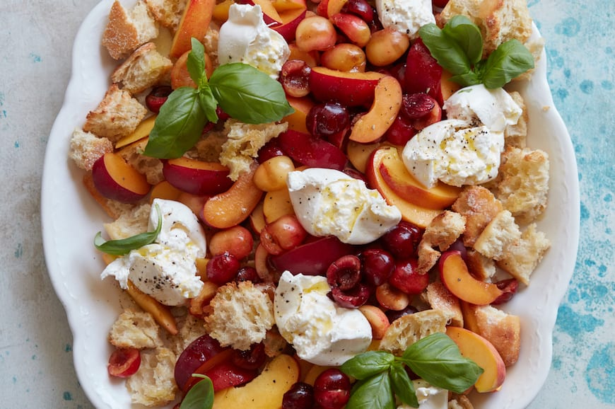 Cherry and Peach Panzanella from www.whatsgabycooking.com (@whatsgabycookin)