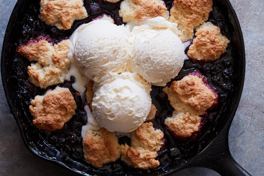 Blueberry Skillet Cobbler with Ice Cream