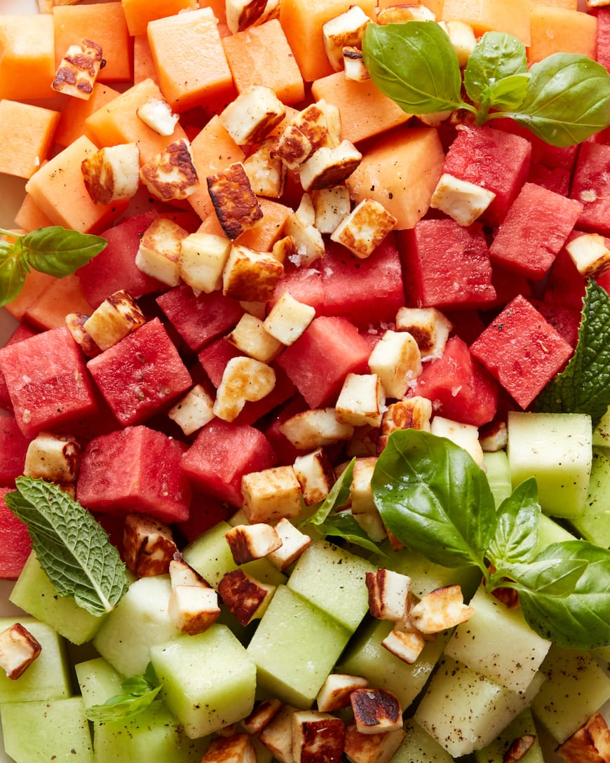 Melon Halloumi Salad from www.whatsgabycooking.com (@whatsgabycookin)