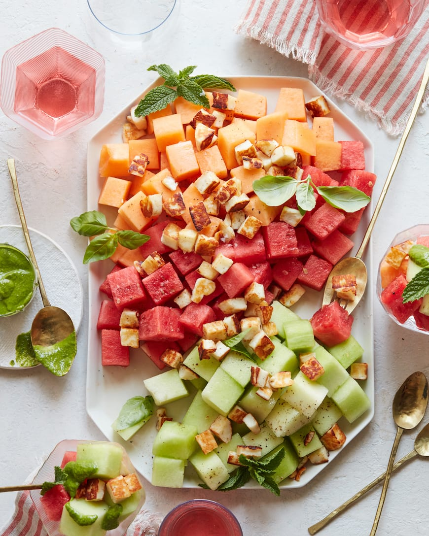 Melon Halloumi Salad Salad from www.whatsgabycooking.com (@whatsgabycookin)
