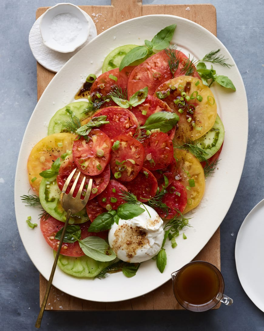 Heirloom Tomato Carpaccio from www.whatsgabycooking.com (@whatsgabycookin)