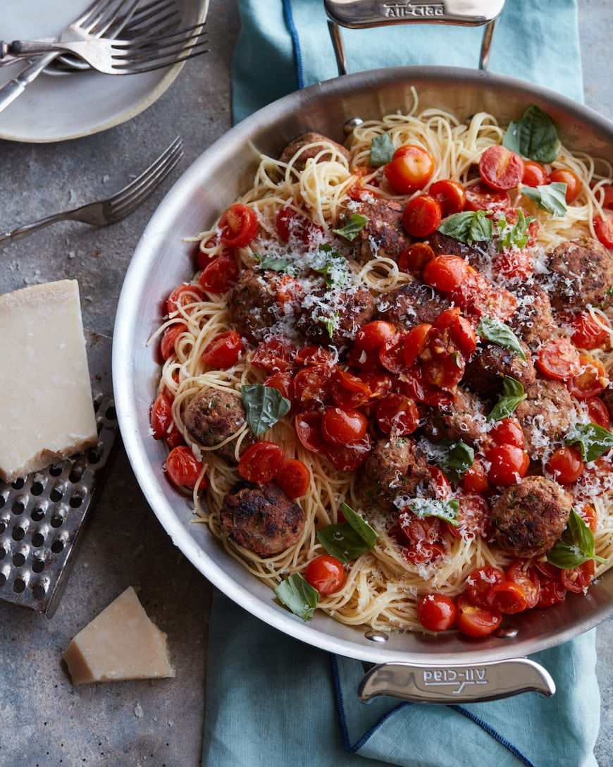 Summer Turkey Meatballs with Angel Hair from www.whatsgabycooking.com (@whatsgabycookin)