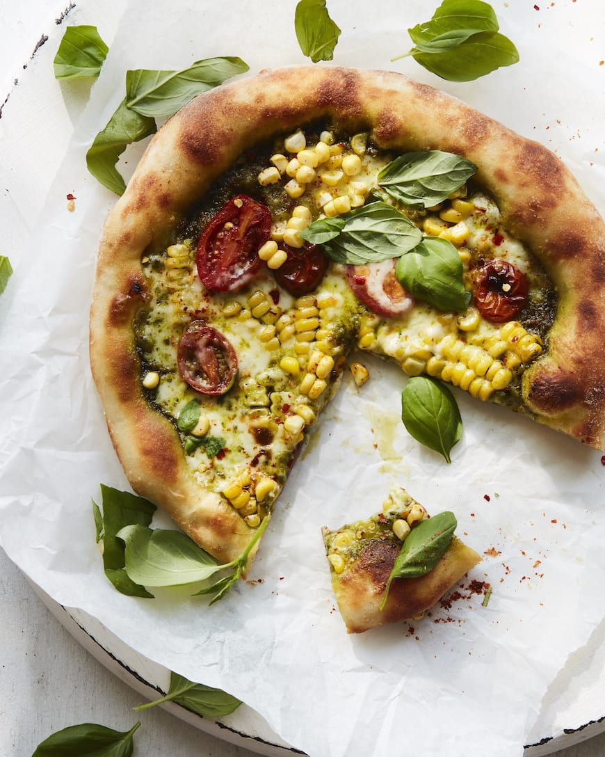 Sweet Corn and Basil Pizza from www.whatsgabycooking.com (@whatsgabycookin)