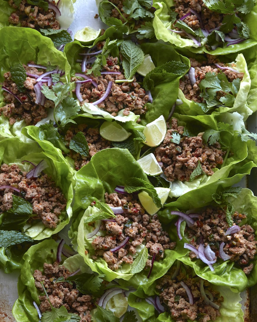 Turkey Larb Lettuce Wraps from www.whatsgabycooking.com (@whatsgabycookin)