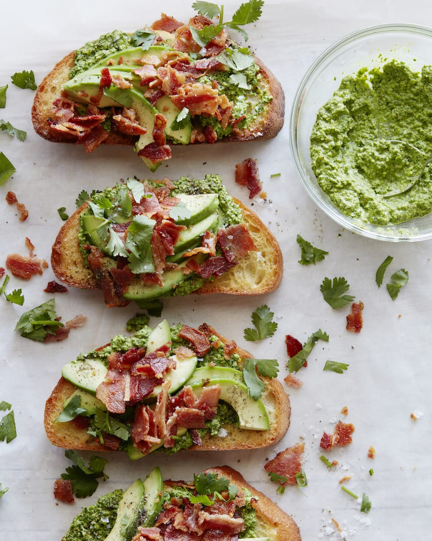 Green Harissa Tartines with Bacon and Avocado from www.whatsgabycooking.com (@whatsgabycookin)