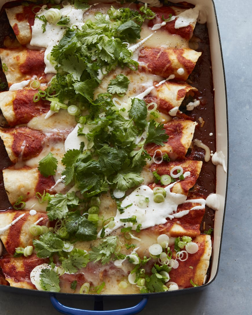Sweet Potato, Kale and Black Bean Enchiladas from www.whatsgabycooking.com (@whatsgabycookin)