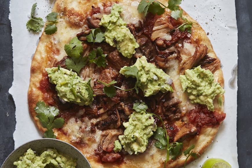 Carnitas and Guacamole Pizza from www.whatsgabycooking.com (@whatsgabycookin)