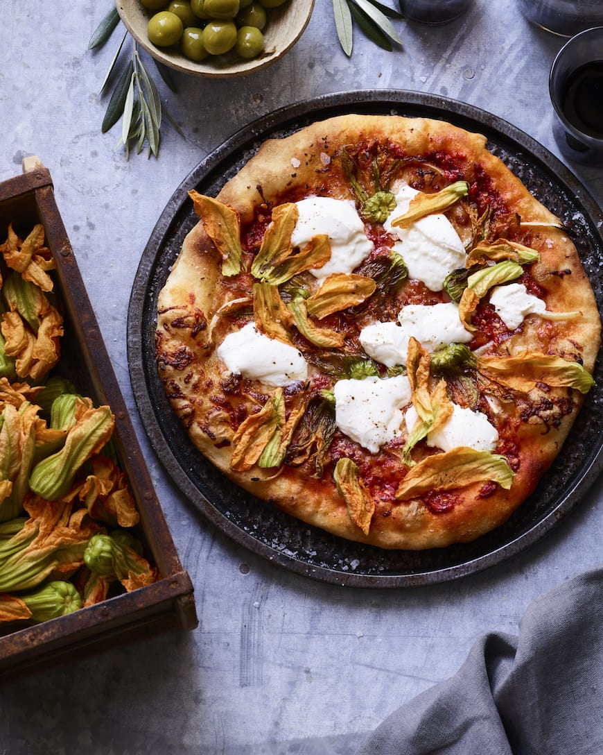 Squash Blossom Pizza with Burrata from www.whatsgabycooking.com (@whatsgabycookin)
