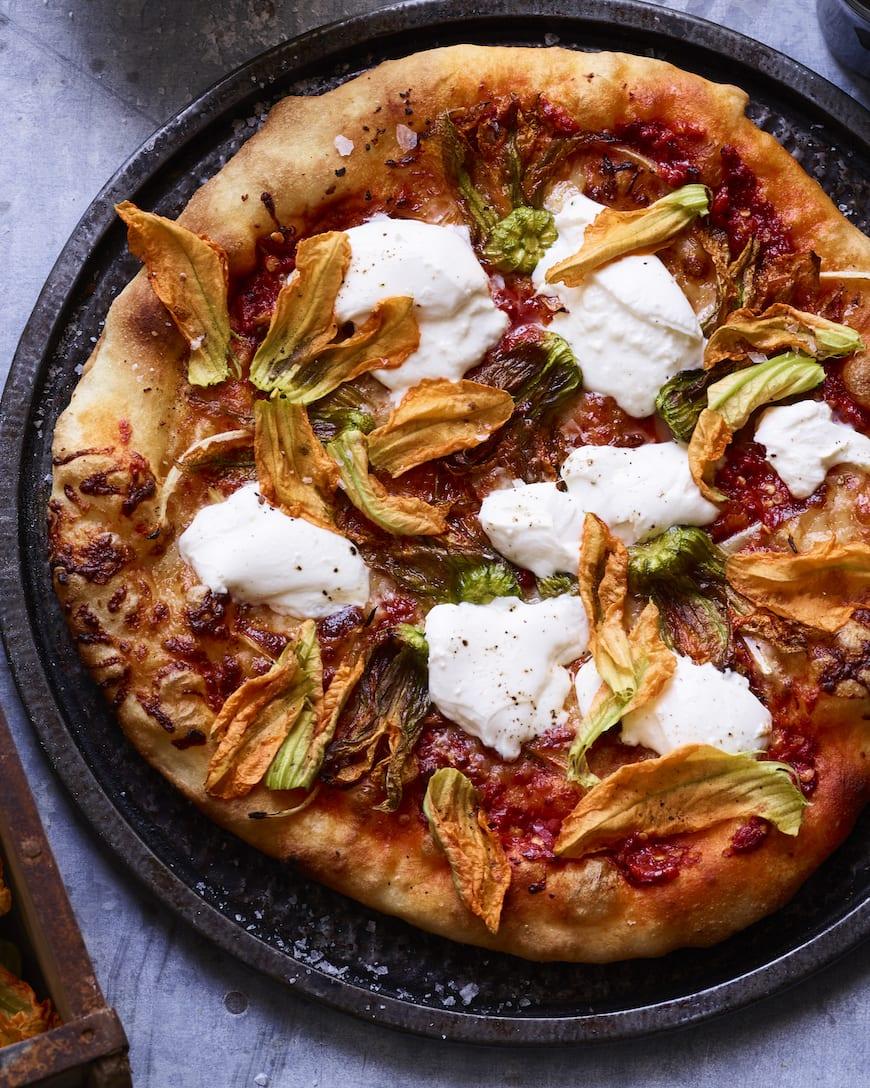 Squash Blossom Pizza with Burrata from www.whatsgabycooking.com (@whatsgabycookin)