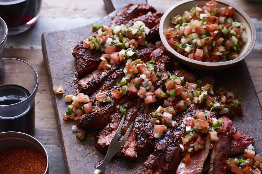 Grilled Flank Steak with Poblano Pico