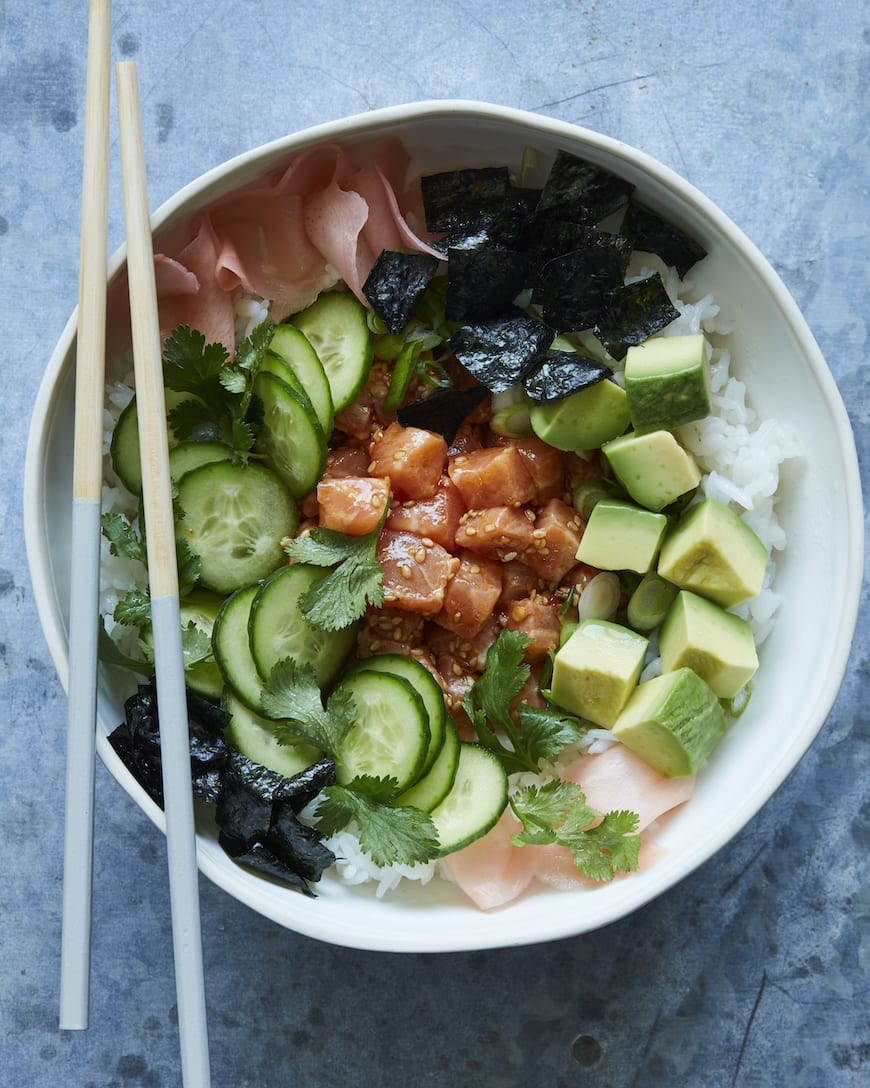 Spicy Salmon Sushi Bowls from www.whatsgabycooking.com (@whatsgabycookin)