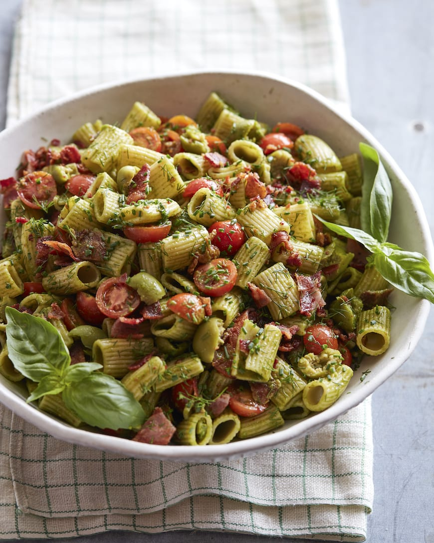 Pesto Pasta Salad from www.whatsgabycooking.com (@whatsgabycookin)