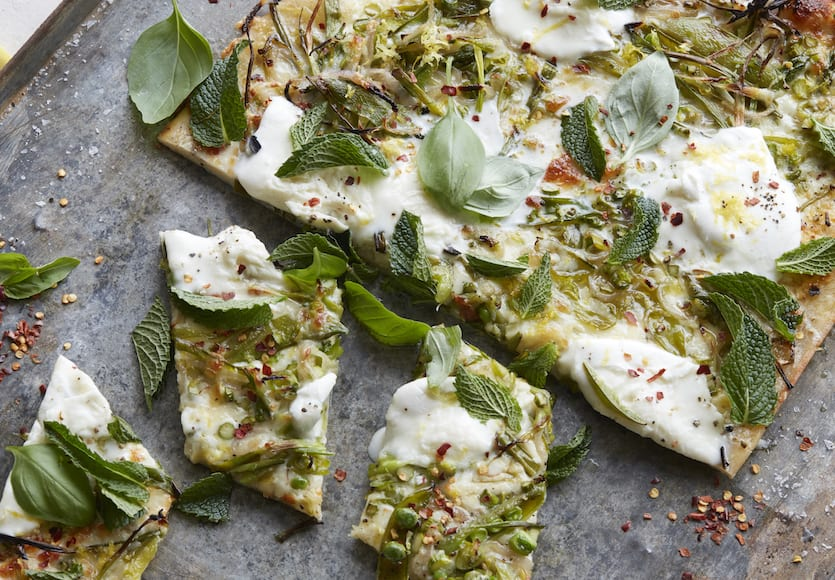 Green Pizza (with Asparagus, Peas, Mint and Burrata)