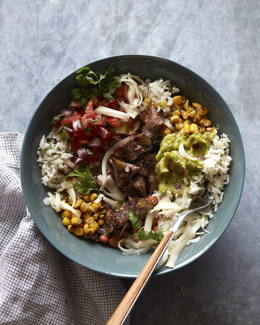 Flank Steak Burrito Bowls from www.whatsgabycooking.com (@whatsgabycookin)