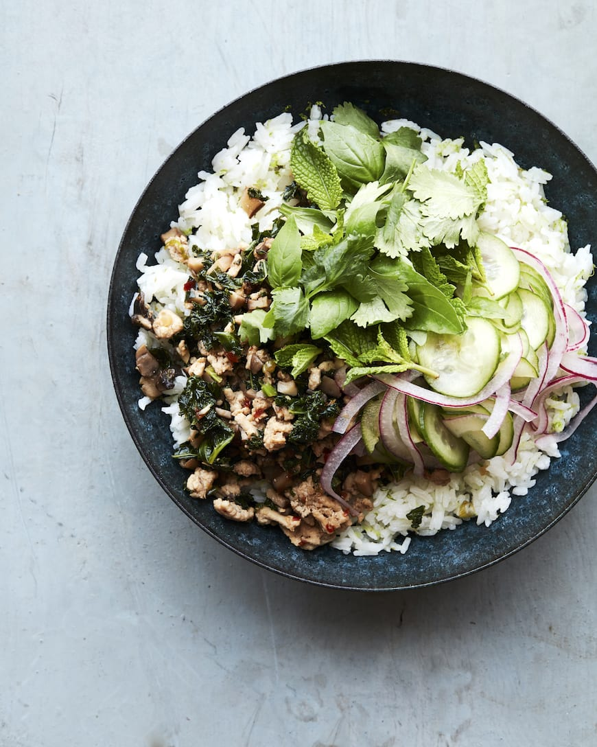 Chicken Mushroom Larb Bowls with coconut rice from www.whatsgabycooking.com (@whatsgabycookin)