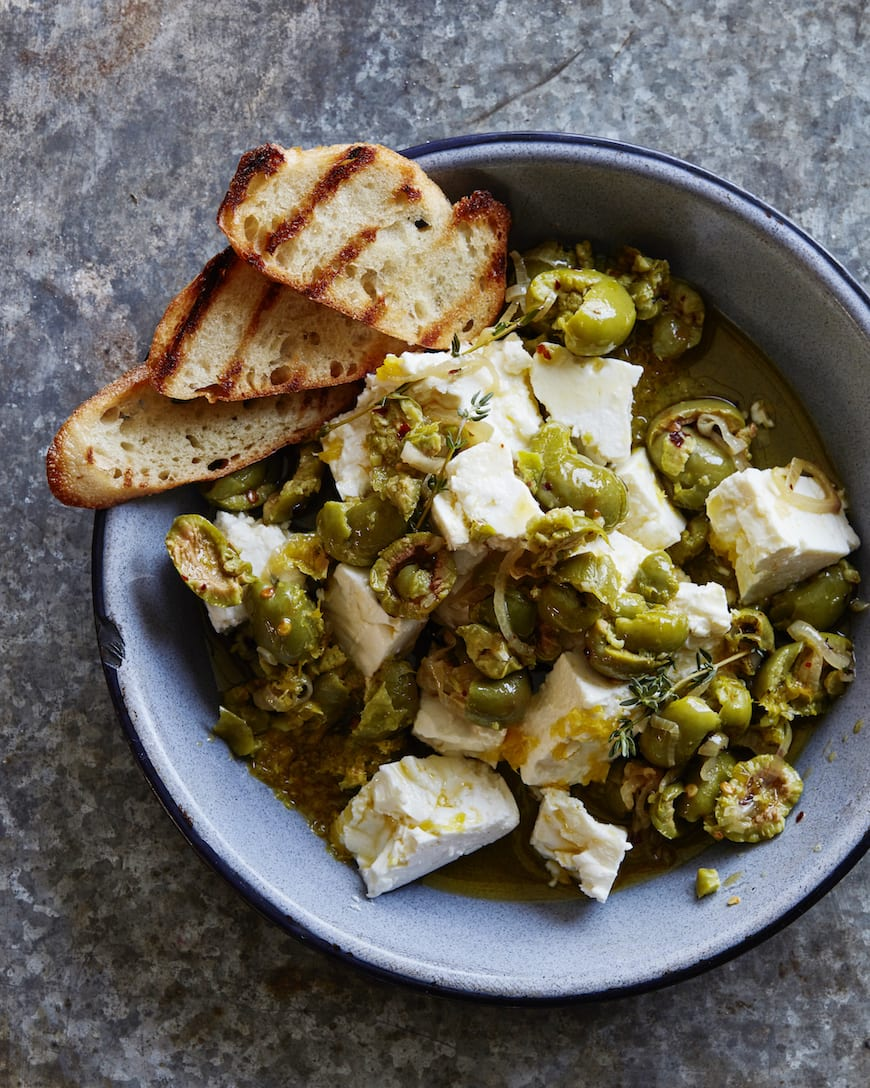 Marinated Olives and Feta with grilled bread from www.whatsgabycooking.com (@whatsgabycookin)