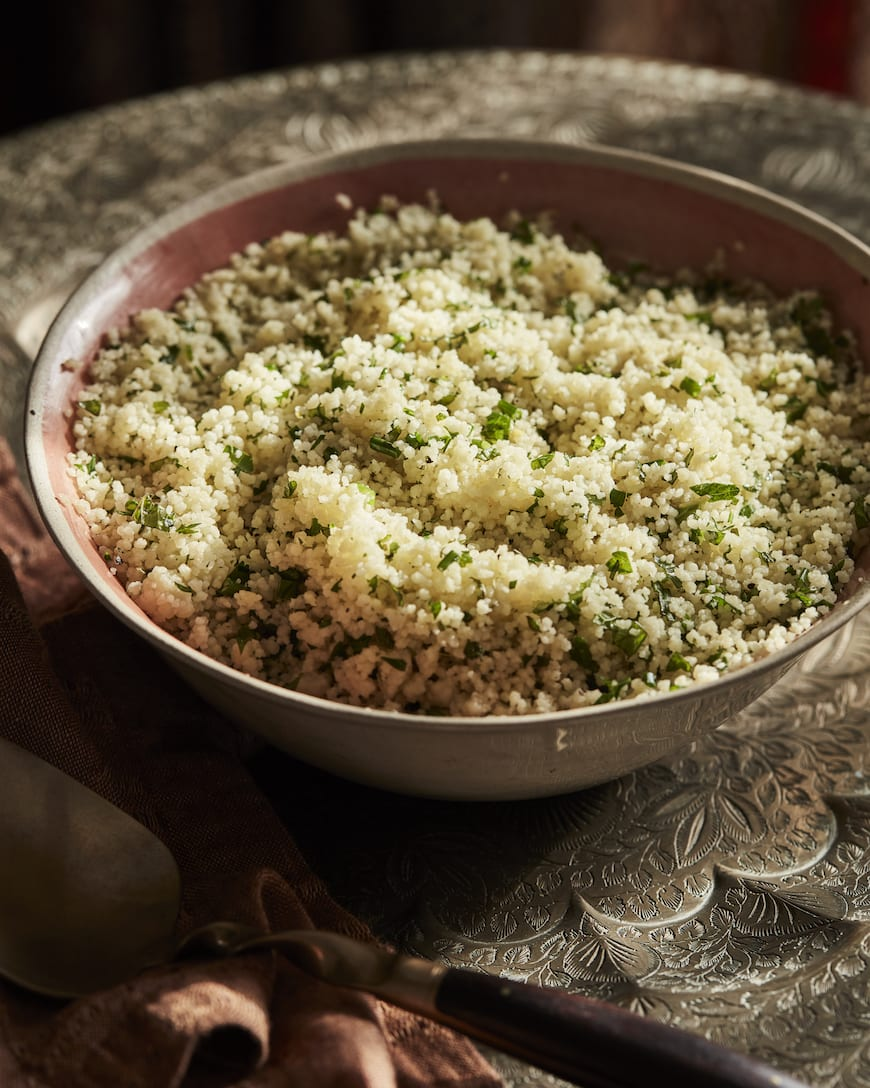 Moroccan Dinner Party Menu // Herbed Couscous from www.whatsgabycooking.com (@whatsgabycookin)