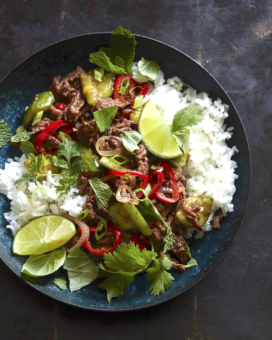Spicy Beef with Coconut Rice from www.whatsgabycooking.com (@whatsgabycookin)