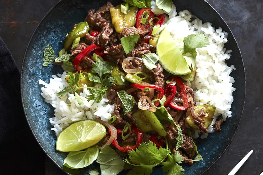 Spicy Beef with Coconut Rice