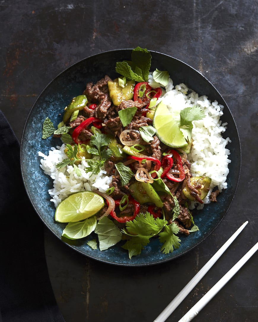 Spicy Beef Larb with Coconut Rice from www.whatsgabycooking.com (@whatsgabycookin)