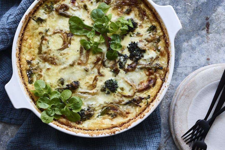 Broccolini Fontina Quiche from www.whatsgabycooking.com (@Whatsgabycookin)