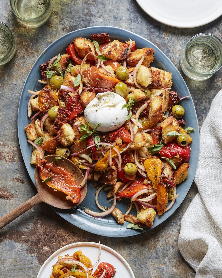 Antipasti Burrata Panzanella from www.whatsgabycooking.com (@whatsgabycookin)