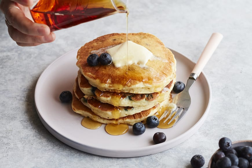 Coconut Blueberry Pancakes from www.whatsgabycooking.com (@whatsgabycookin)