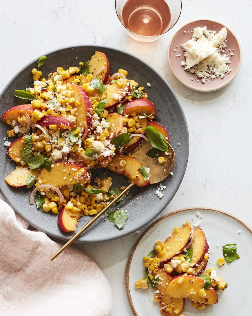 Grilled Corn and Stone Fruit Salad from www.whatsgabycooking.com (@whatsgabycookin)
