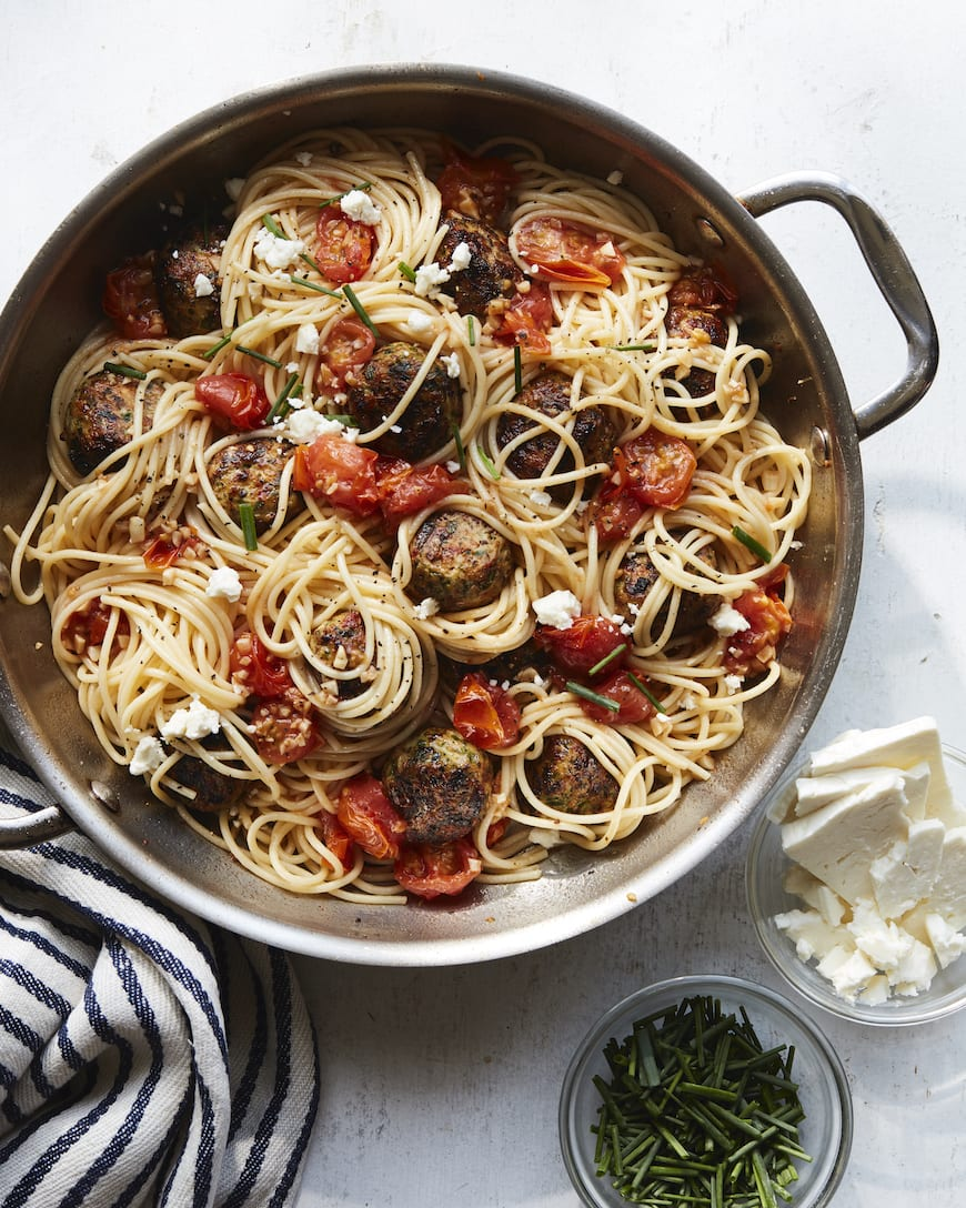 Greek Meatballs with Herb Pasta from www.whatsgabycooking.com (@whatsgabycookin)