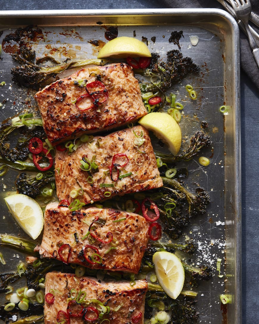 Sheet Pan Broiled Salmon with Broccolini from www.whatsgabycooking.com (@whatsgabycookin)