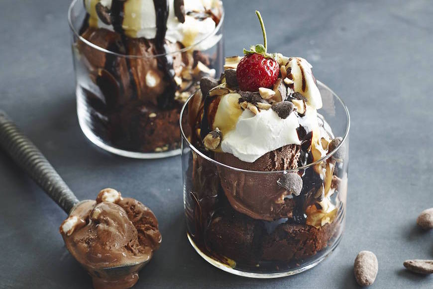 Caramel Brownie Ice Cream Sundae