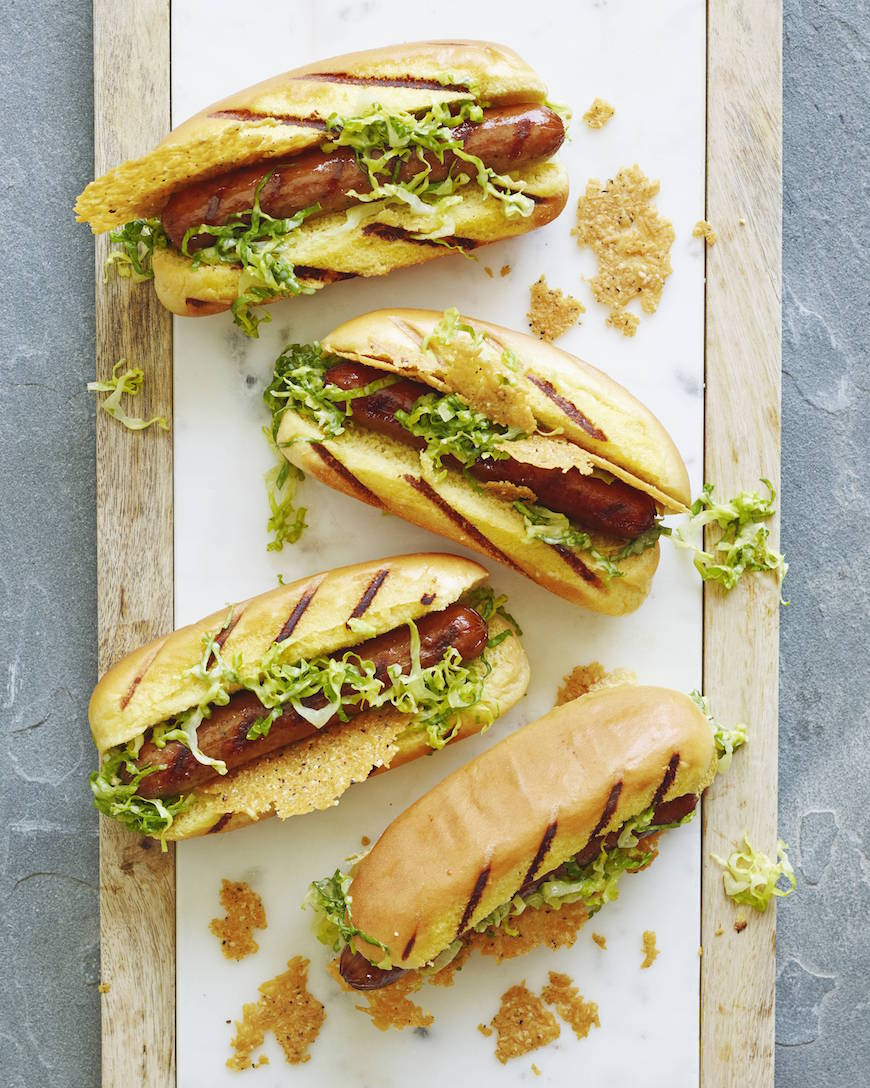 Caesar Salad Hot Dogs from www.whatsgabycooking.com for the most epic Memorial Day Menu (@whatsgabycookin)
