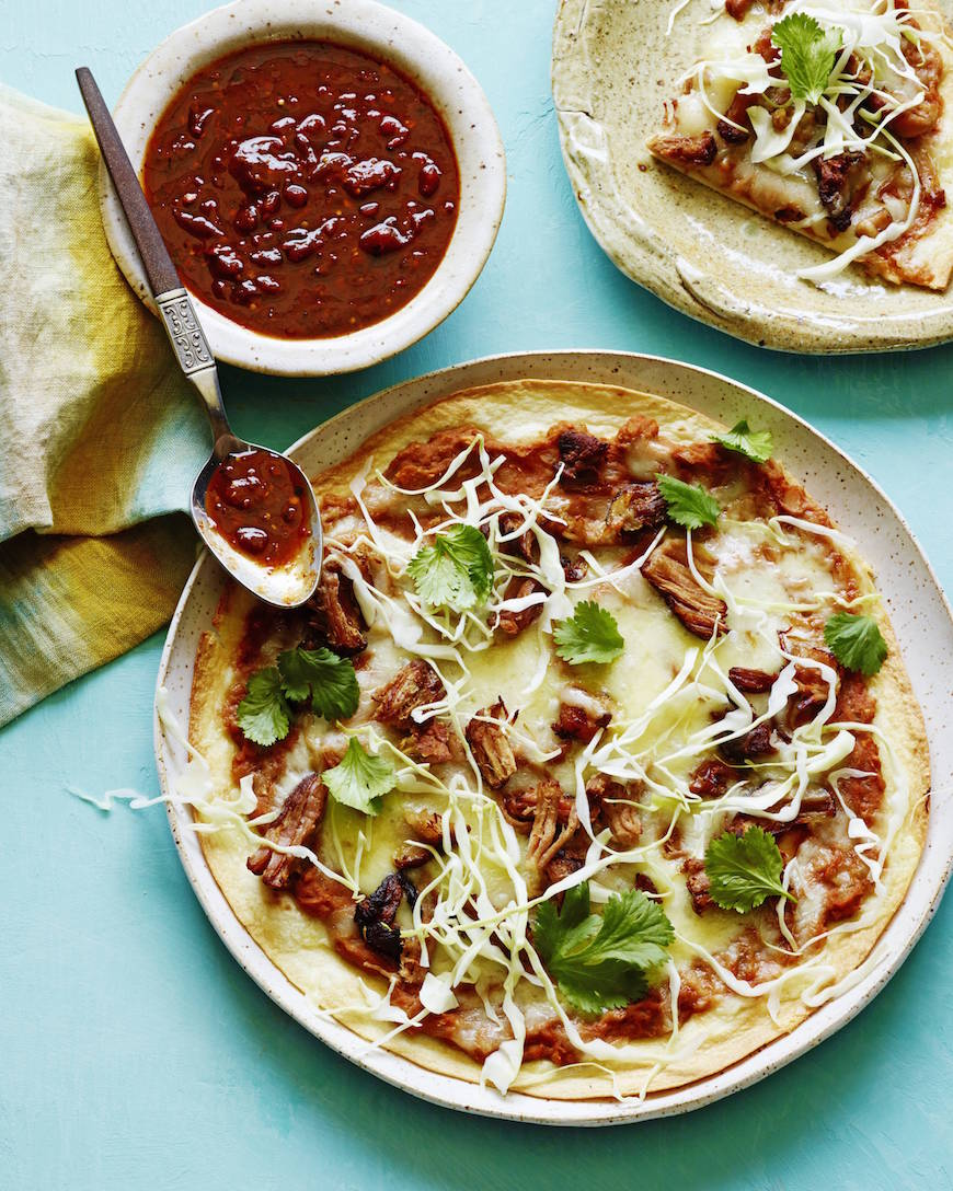 Carnitas Mexican Pizza Recipe from www.whatsgabycooking.com (@whatsgabycookin)