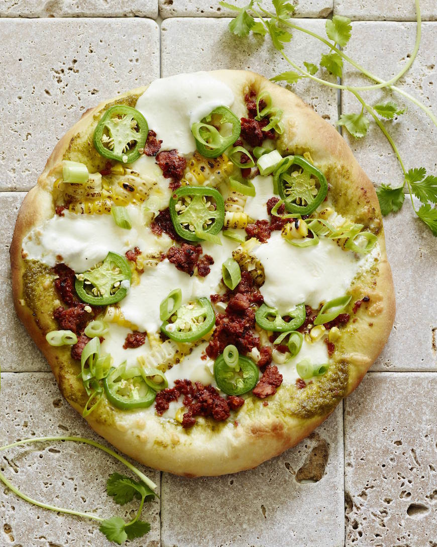 Corn Cilantro Jalapeno Pizza from www.whatsgabycooking.com - the perfect summertime pizza (@whatsgabycookin)